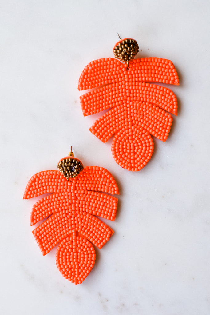 Monstera Leaf Earrings- Neon Orange