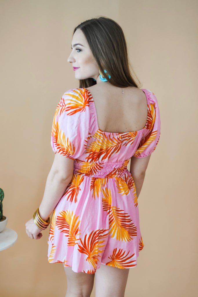 Welcome To Paradise Romper- Pink - Pomp & Circumstance