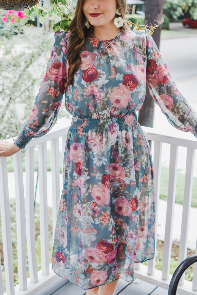 Forever Young Floral Maxi Dress- Green