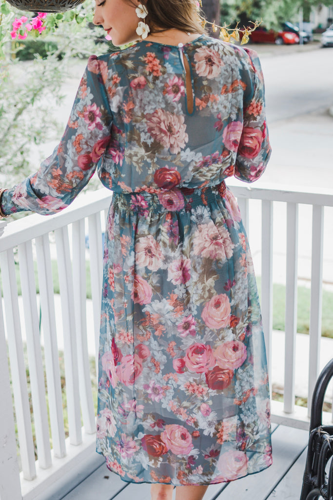 Forever Young Floral Maxi Dress- Green - Pomp & Circumstance