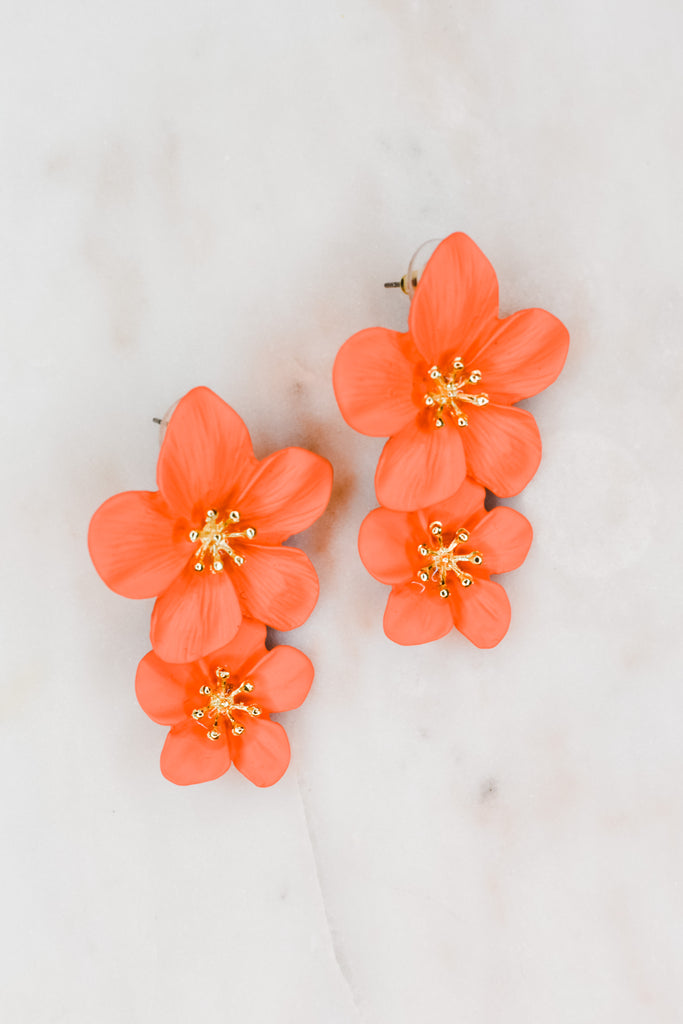 Spring Is Here Flower Earrings- Salmon - Pomp & Circumstance