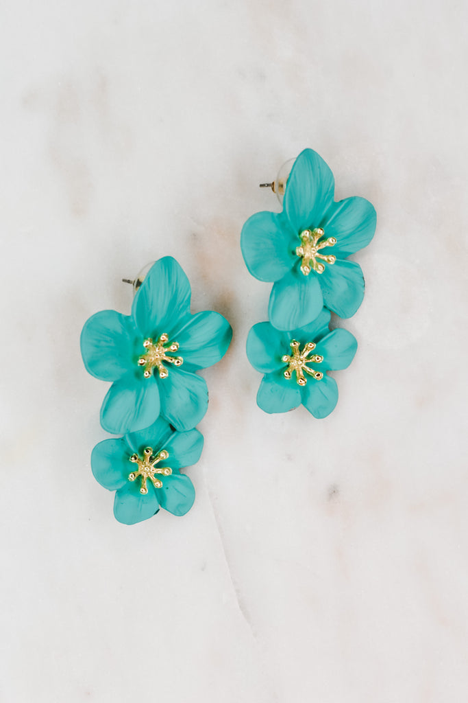 Spring Is Here Flower Earrings- Turquoise