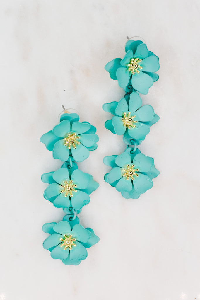 Blooming Flower Earrings- Turquoise - Pomp & Circumstance