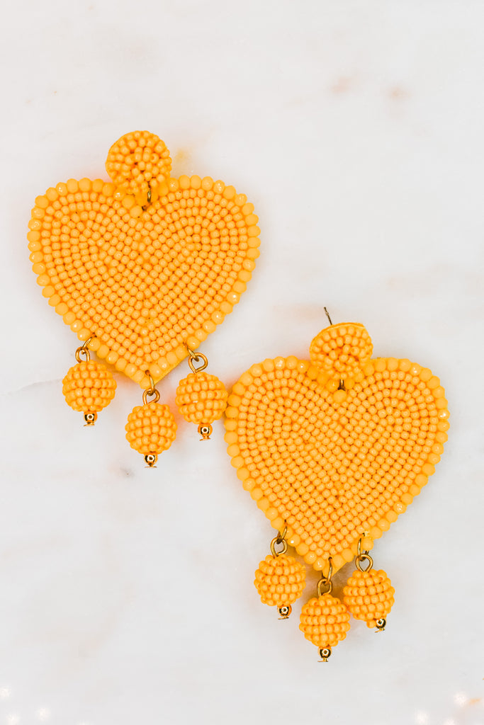 Heart Drop Earrings- Mustard - Pomp & Circumstance