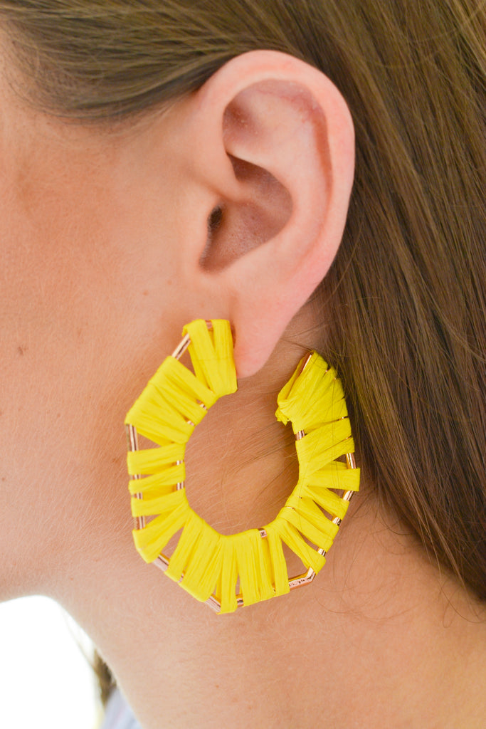 Raffia Hoop Earrings- Yellow