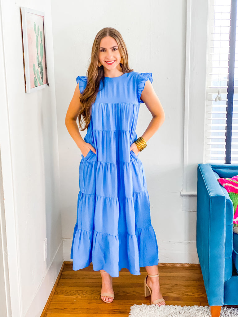 Pep In Your Step Maxi Dress- Blue