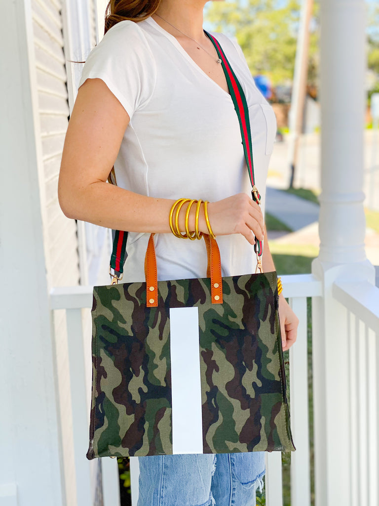 Striped Camouflage Canvas Bag***