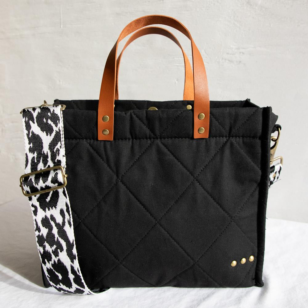 PS Canvas Bag Tote- Quilted Black***