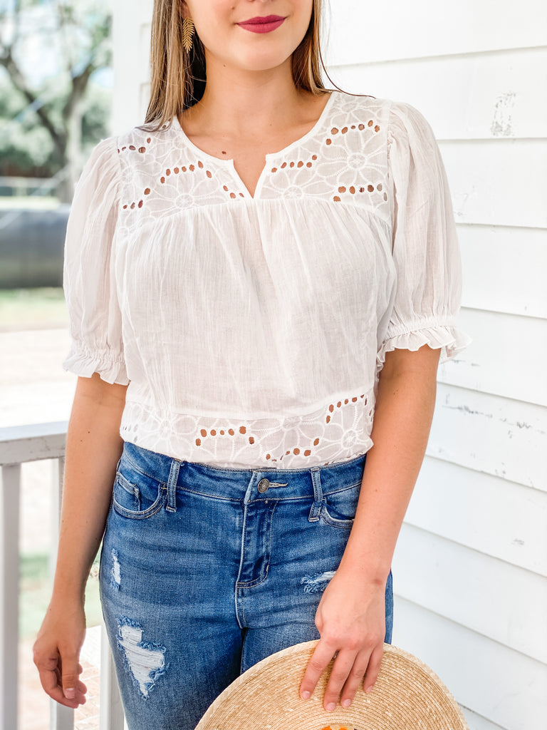 Wondering When Eyelet Top- Off White