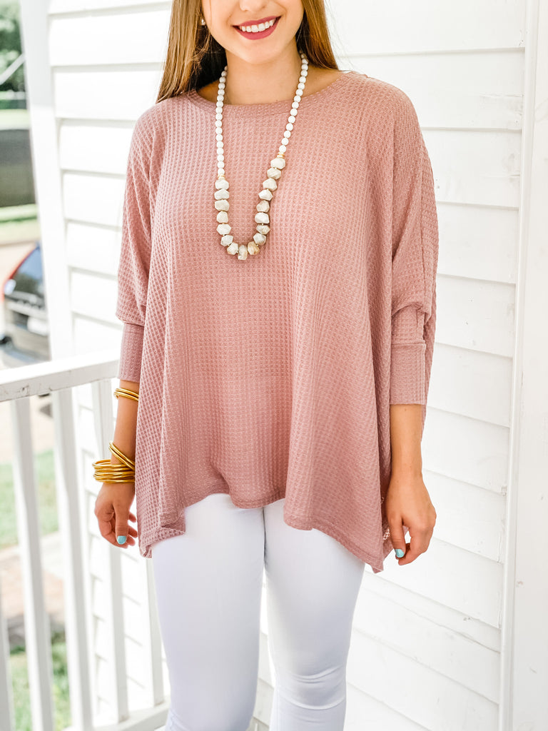 Stay Ahead Thermal Top- Blush