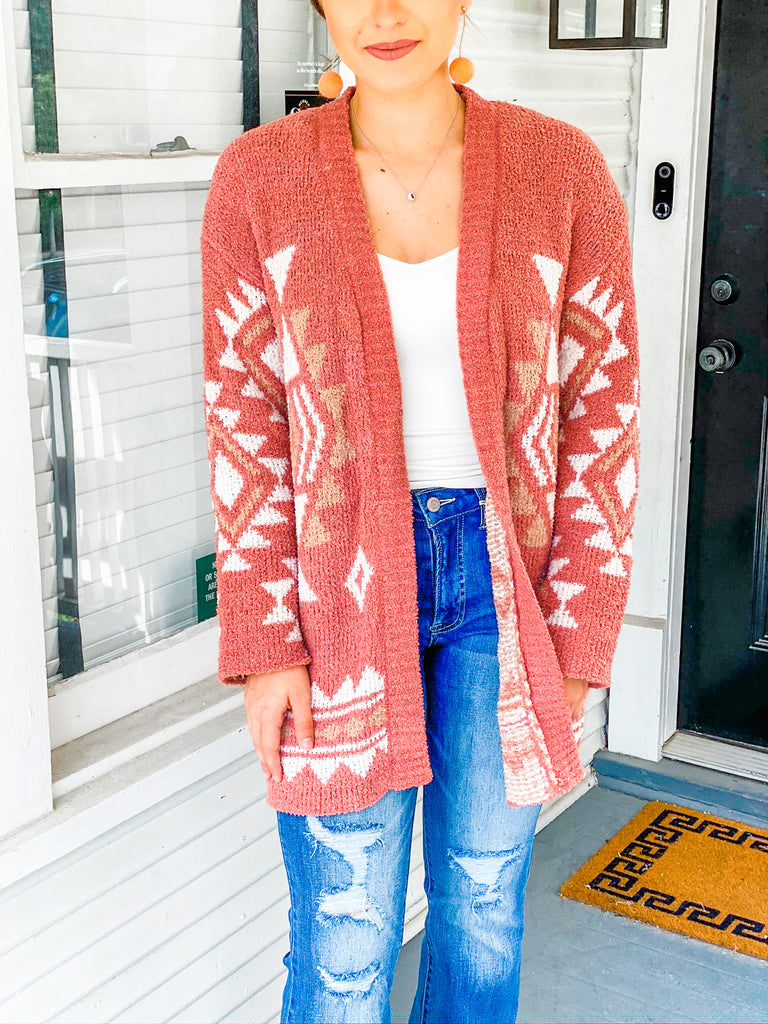 Sunset Boulevard Cardigan- Brick***
