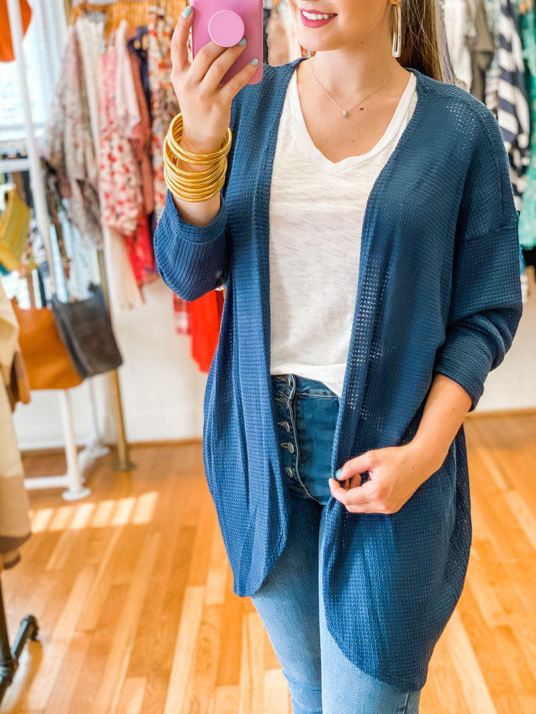 Get Cozy Cardigan- Blue