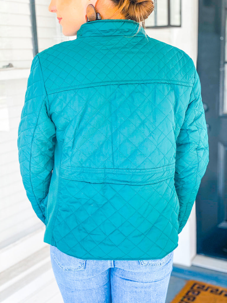 Guilty Pleasure Quilted Jacket- Green***