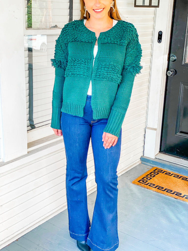 Tinsel Tassel Sweater- Green