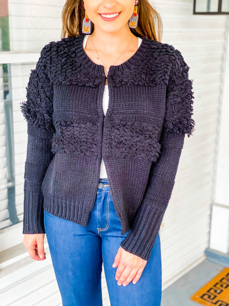 Tinsel Tassel Sweater- Black