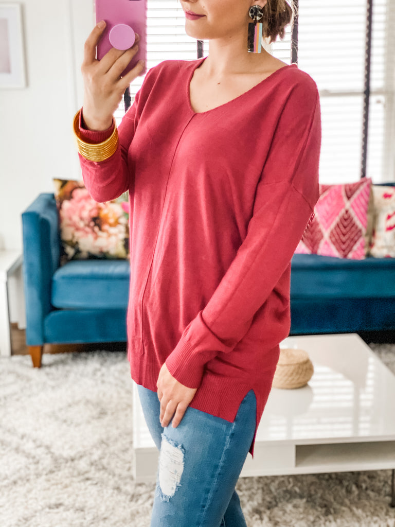 Hollywood Dreaming Sweater- Red