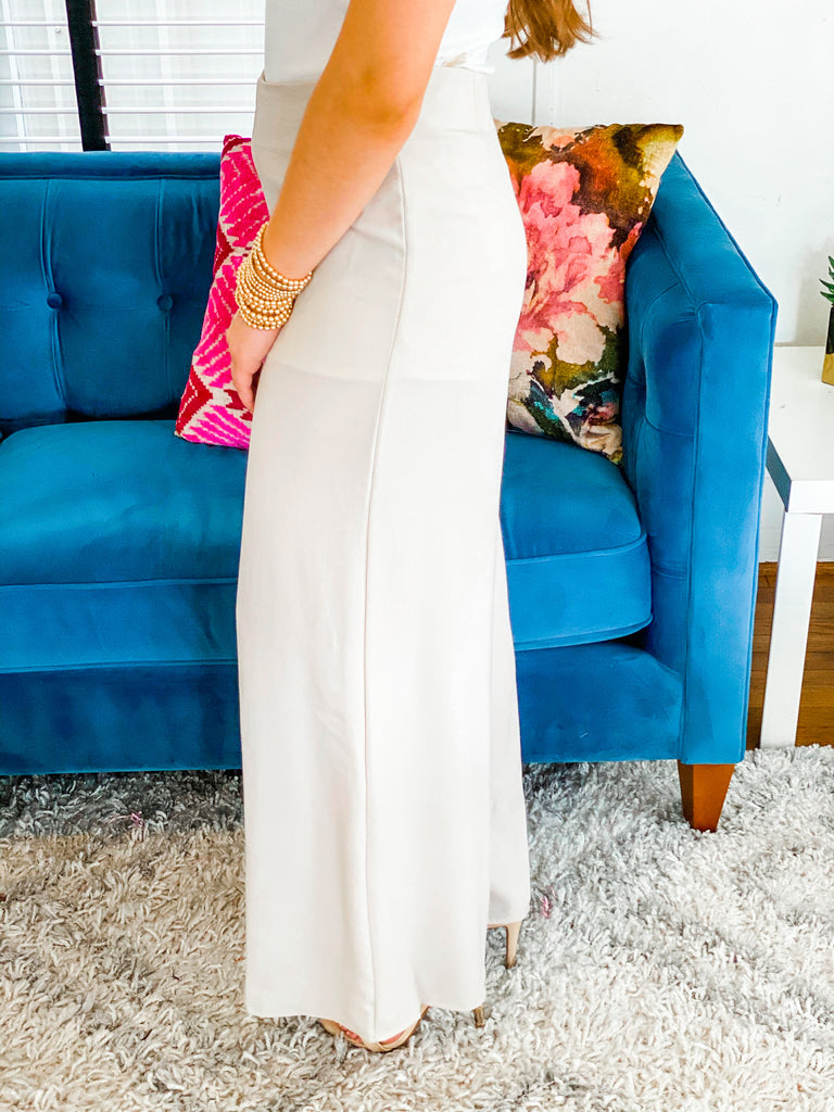 Let It Slide Palazzo Pants- Taupe