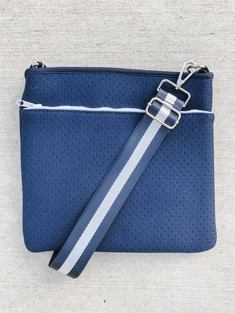 Neoprene Double Zipper Messenger- Navy*** - Pomp & Circumstance