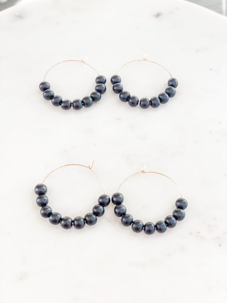 Wood Bead Hoop Earrings - Black, Gold Filled