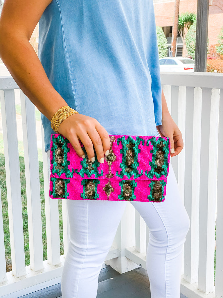 Beaded Clutch- Pink/Turquoise Ikat***