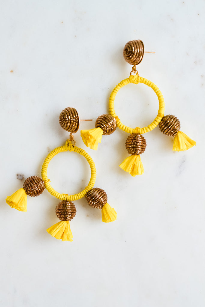 Just Say It Earrings- Yellow/Gold
