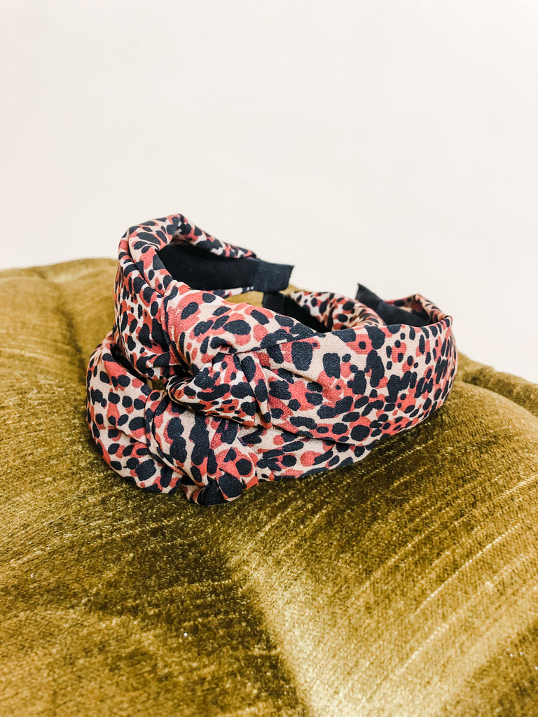Spotted Headband- Black/Red/Tan - Pomp & Circumstance