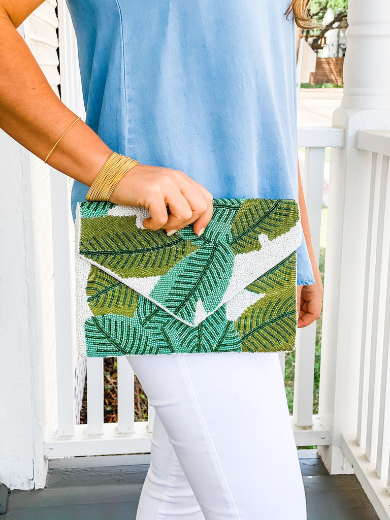 Beaded Clutch- Palm Leaf