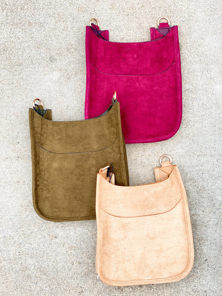 PRE-ORDER: Mini Faux Suede Messenger Bag (Strap NOT Included)- Burgundy, Tan, Army***