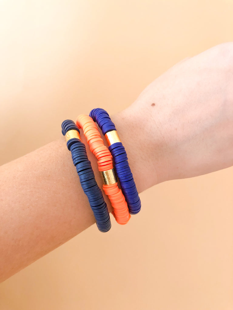 Clay Stretchy Bracelets- Navy/Orange/Royal Blue - Pomp & Circumstance