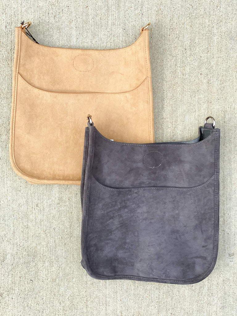 Soft Faux Suede Messenger Bag (Strap NOT included)- Gray and Tan***