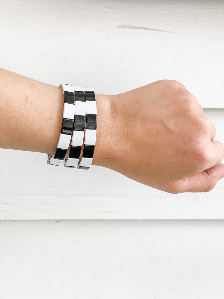 Black and White Square Enamel Tile Stretch Bracelet