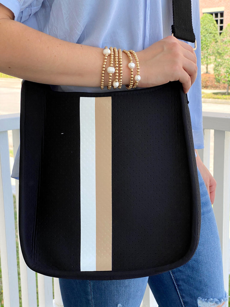 Sporty Neoprene Messenger- Black with White/Taupe Stripe***