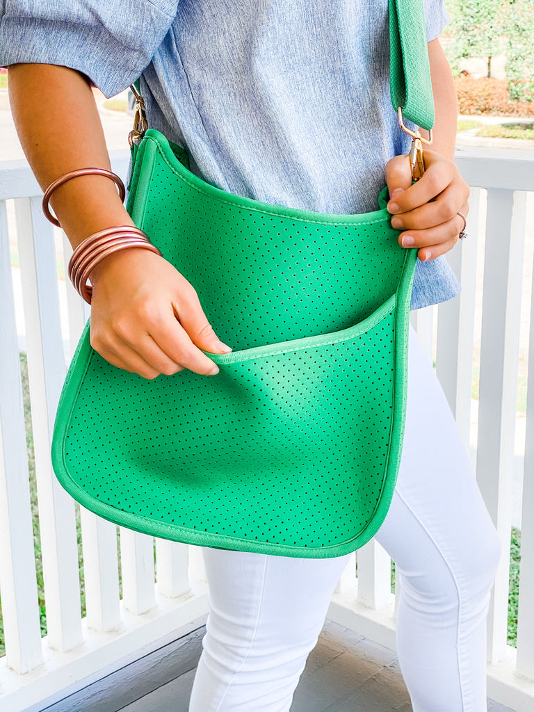 Sporty Neoprene Messenger- Green with White/Navy Stripe***