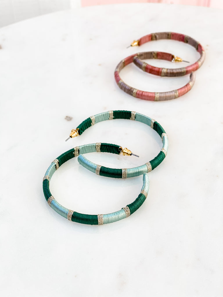 Two Tone Earrings- Emerald