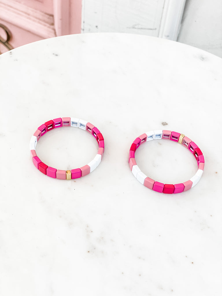 Enamel Stretch Tile Bracelet- Pink