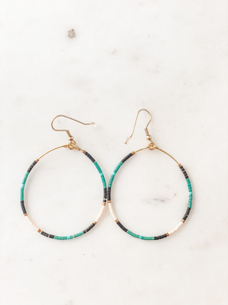 Teardrop Beaded Hoop Earrings