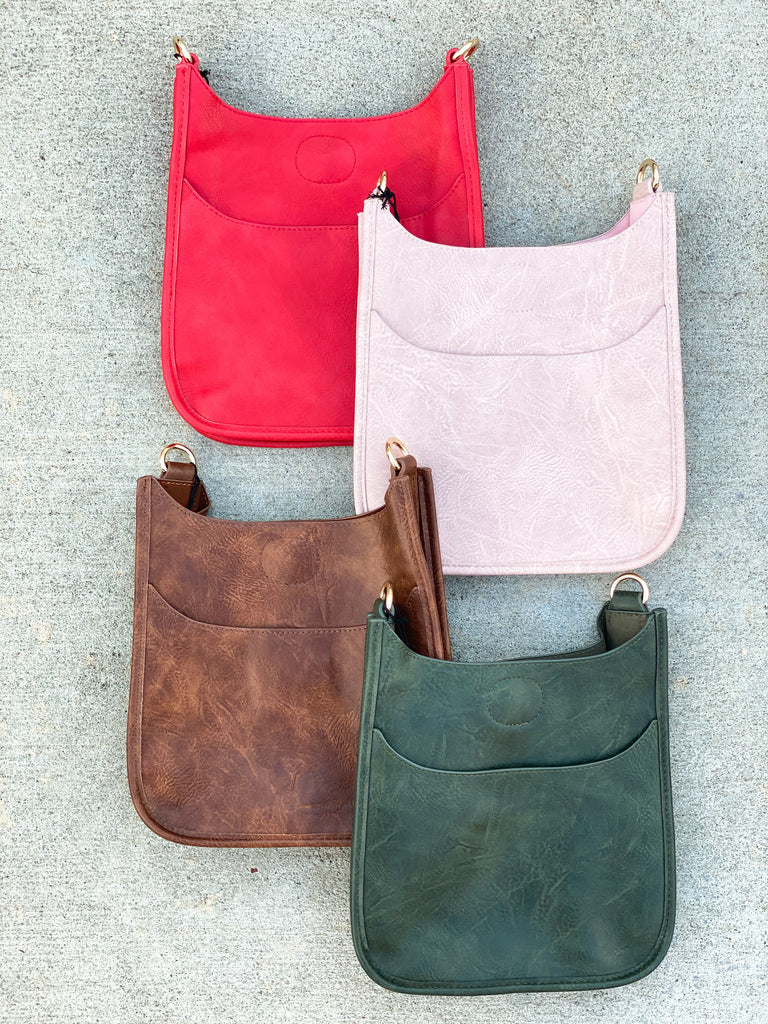 Mini Soft Faux Leather Messenger Bag (Strap NOT included)- Red, Blush, Coffee and Olive***