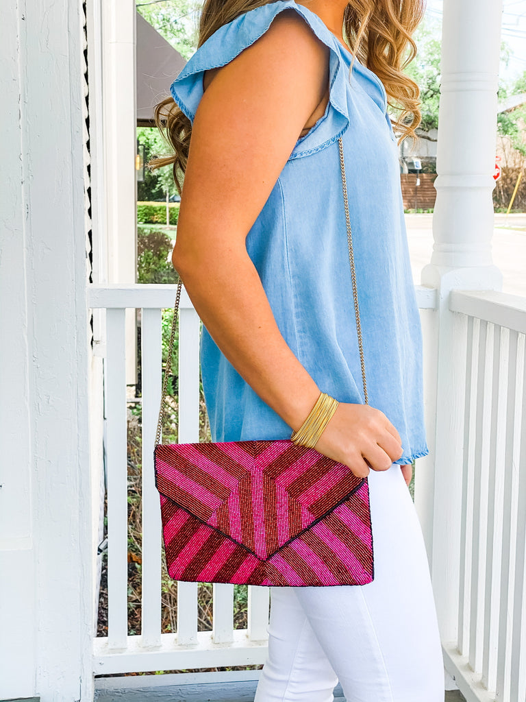 Beaded Clutch- Red Stripe