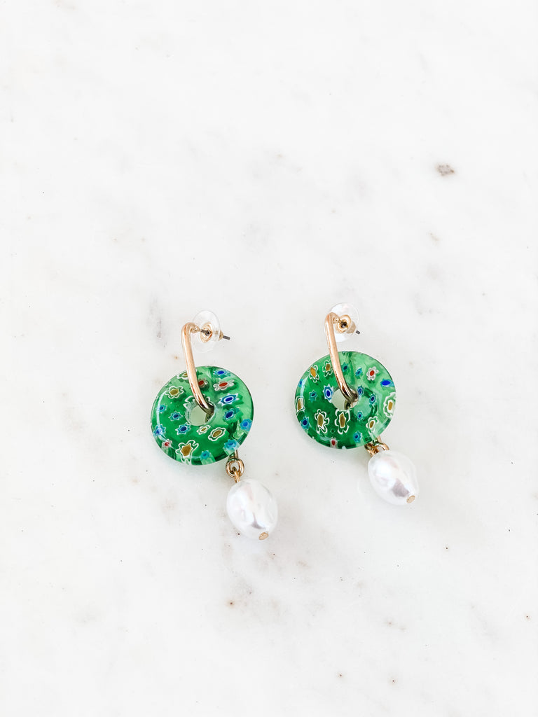 Thea Gold Pearl & Floral Disc Drop Earrings