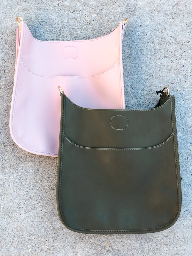 PRE-ORDER: Soft Faux Leather Messenger Bag (Strap NOT included)- Blush and Army***