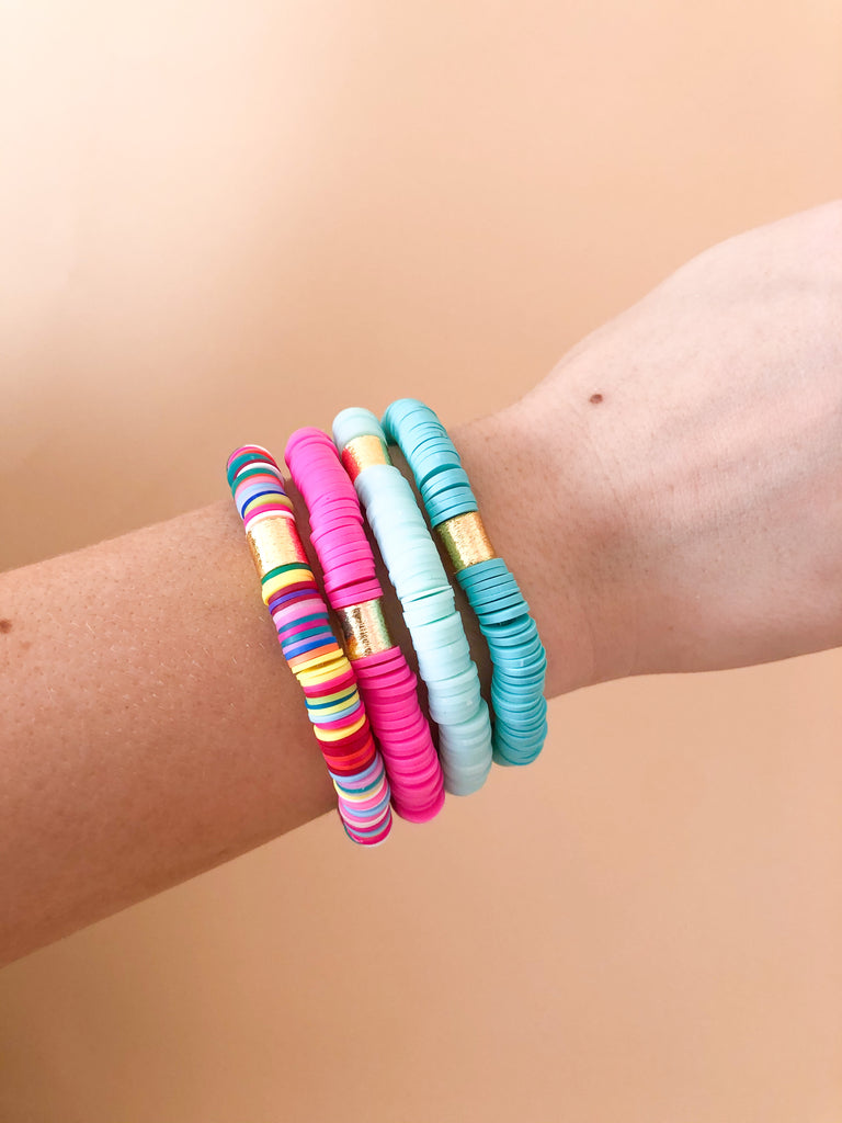 Clay Stretchy Bracelets- Multi/Pink/Mint/Turq - Pomp & Circumstance