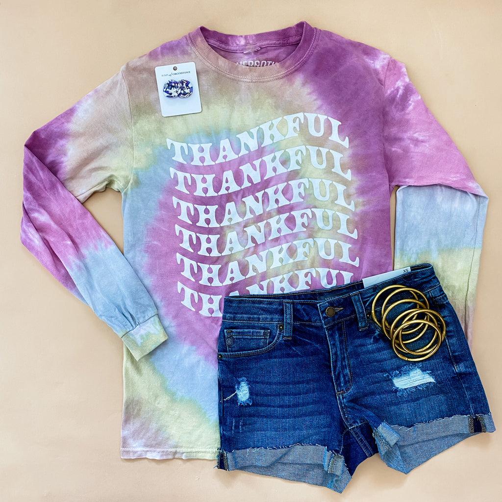 Thankful Tie Dye Long Sleeve Tee