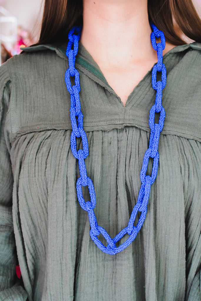 Loop and Loop and Loop Necklace- Blue - Pomp & Circumstance