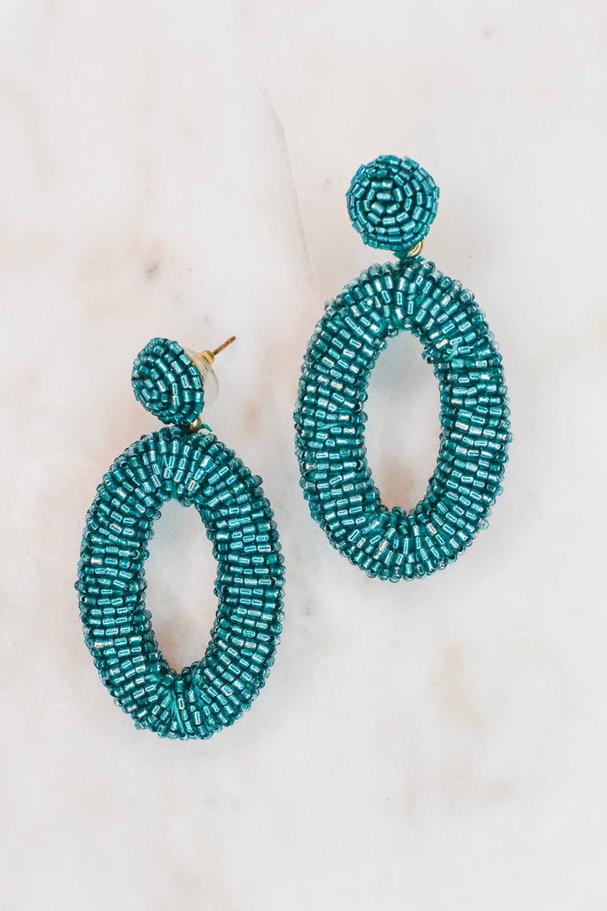 Look At Me Now Earrings- Green - Pomp & Circumstance