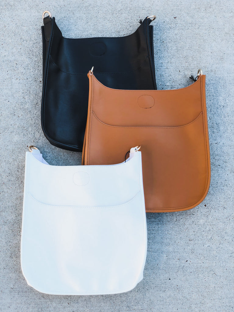 PRE-ORDER: Soft Faux Leather Messenger Bag (Strap NOT included)- Black, Camel, and White***