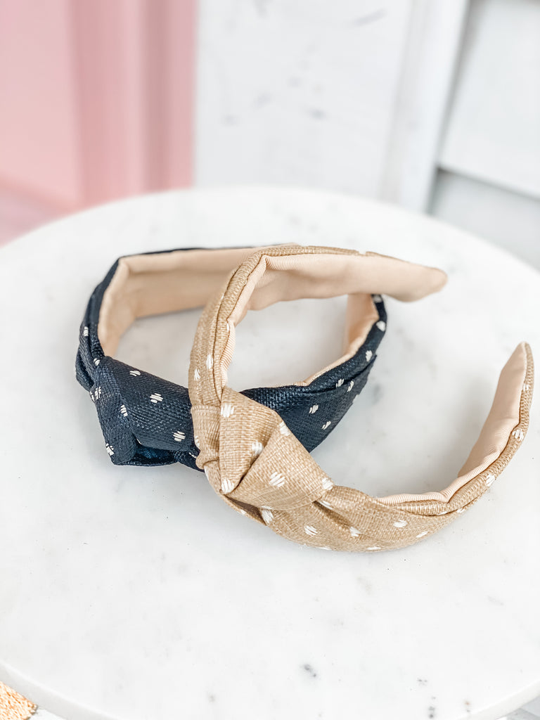 Raffia Top Knot Headbands- Polka Dot