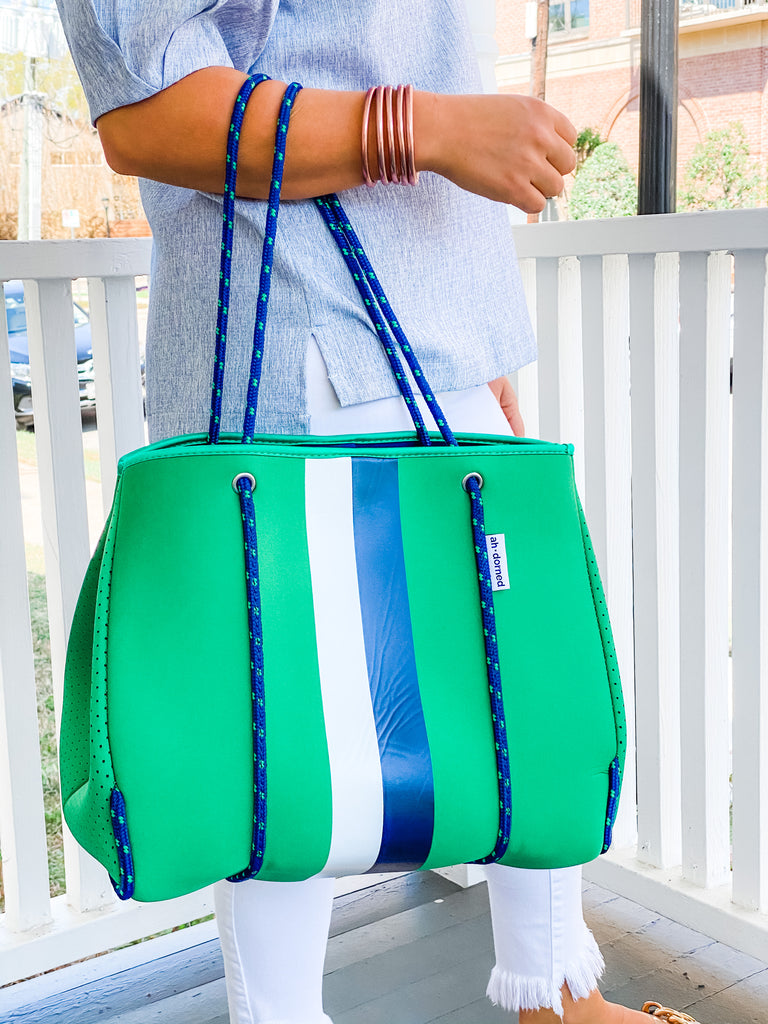 Sporty Neoprene Tote and Pouch- Green with White/Navy Stripe***