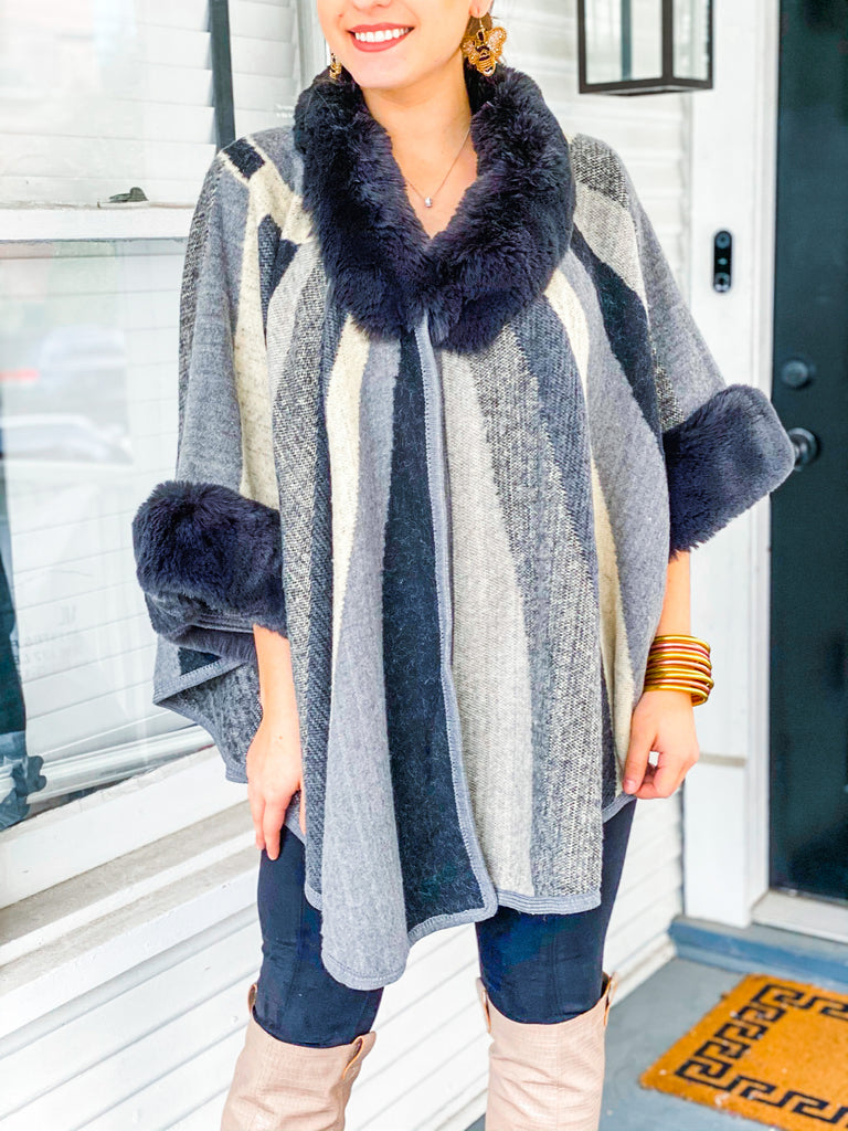 Never Change Faux Fur Poncho