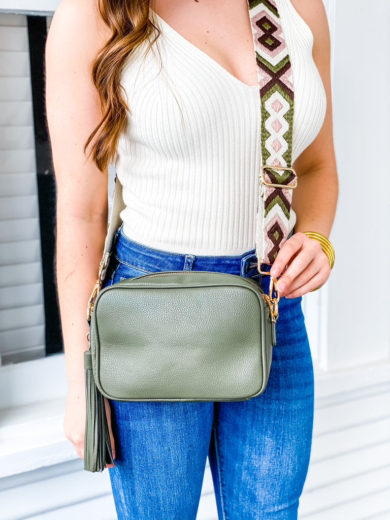 Vegan Zip Top Bag w/ Tassel (strap not included)- Olive, Red, Blue, and Navy***