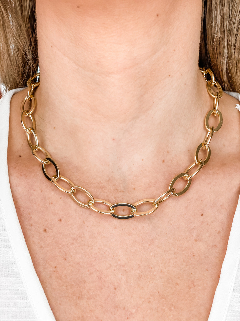 Thick Round Gold Link Chain Necklace- Hook Latch